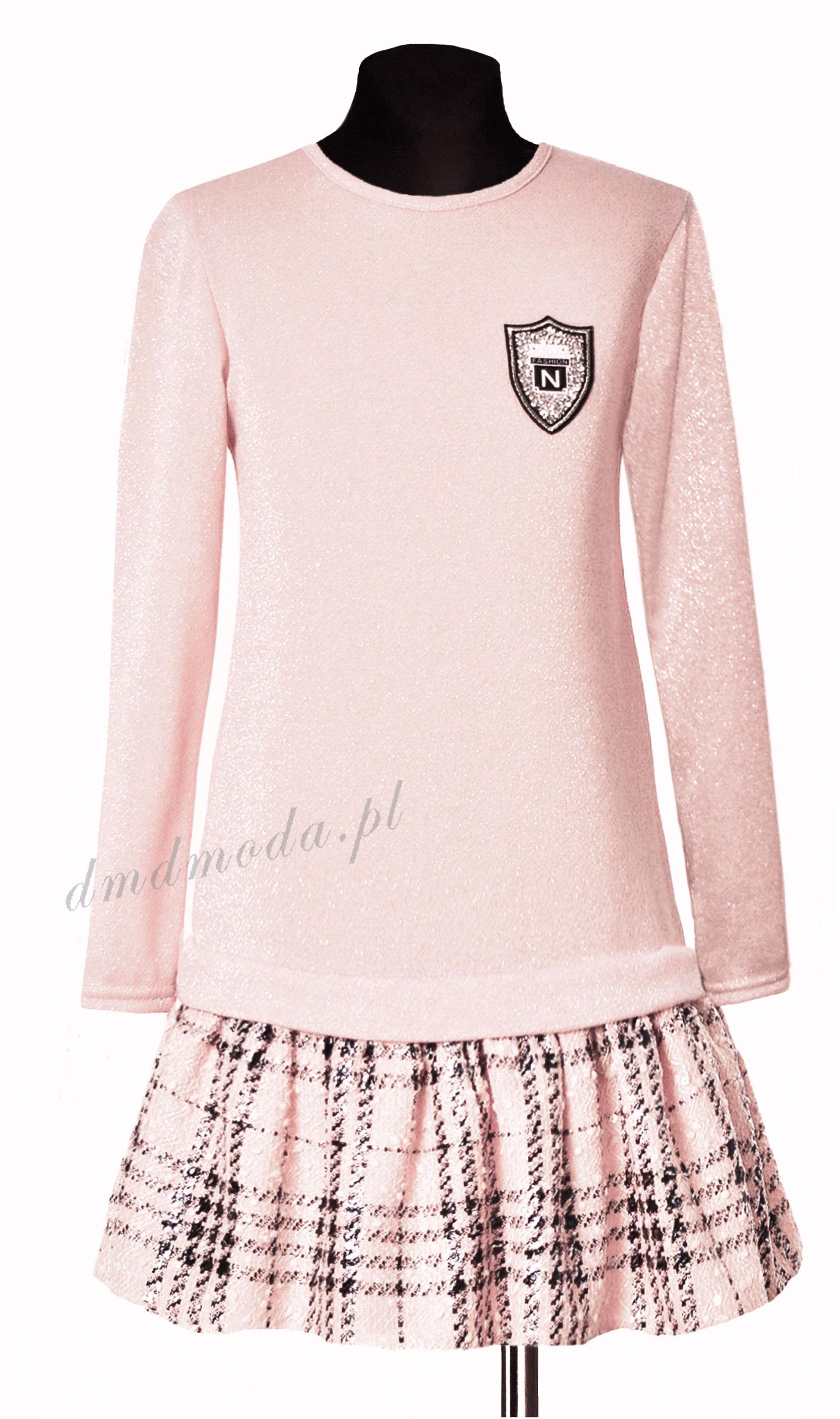 sukienka różowa dla dziewczynki z brokatem