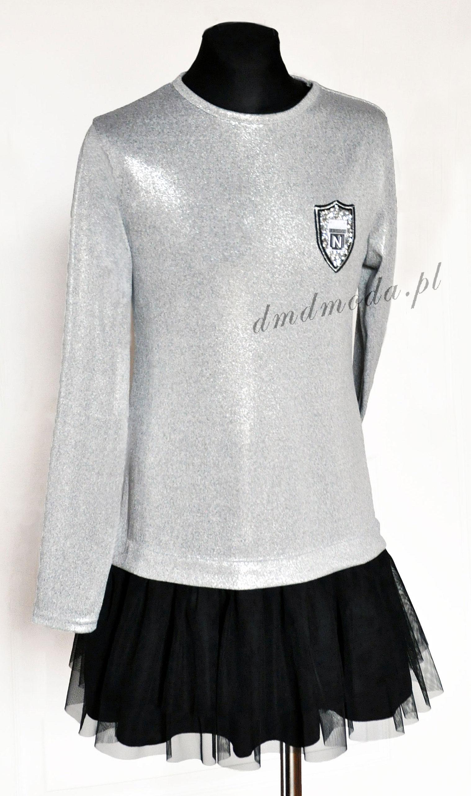 sukienka tunika dla dziewczynki srebrna