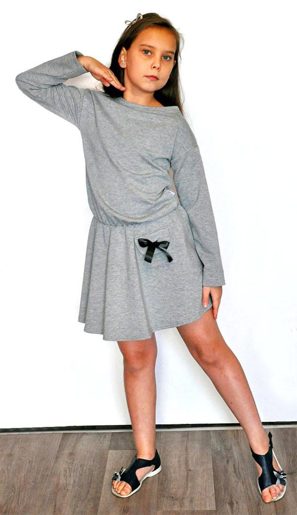sukienka tunika szara dla dziewczynki