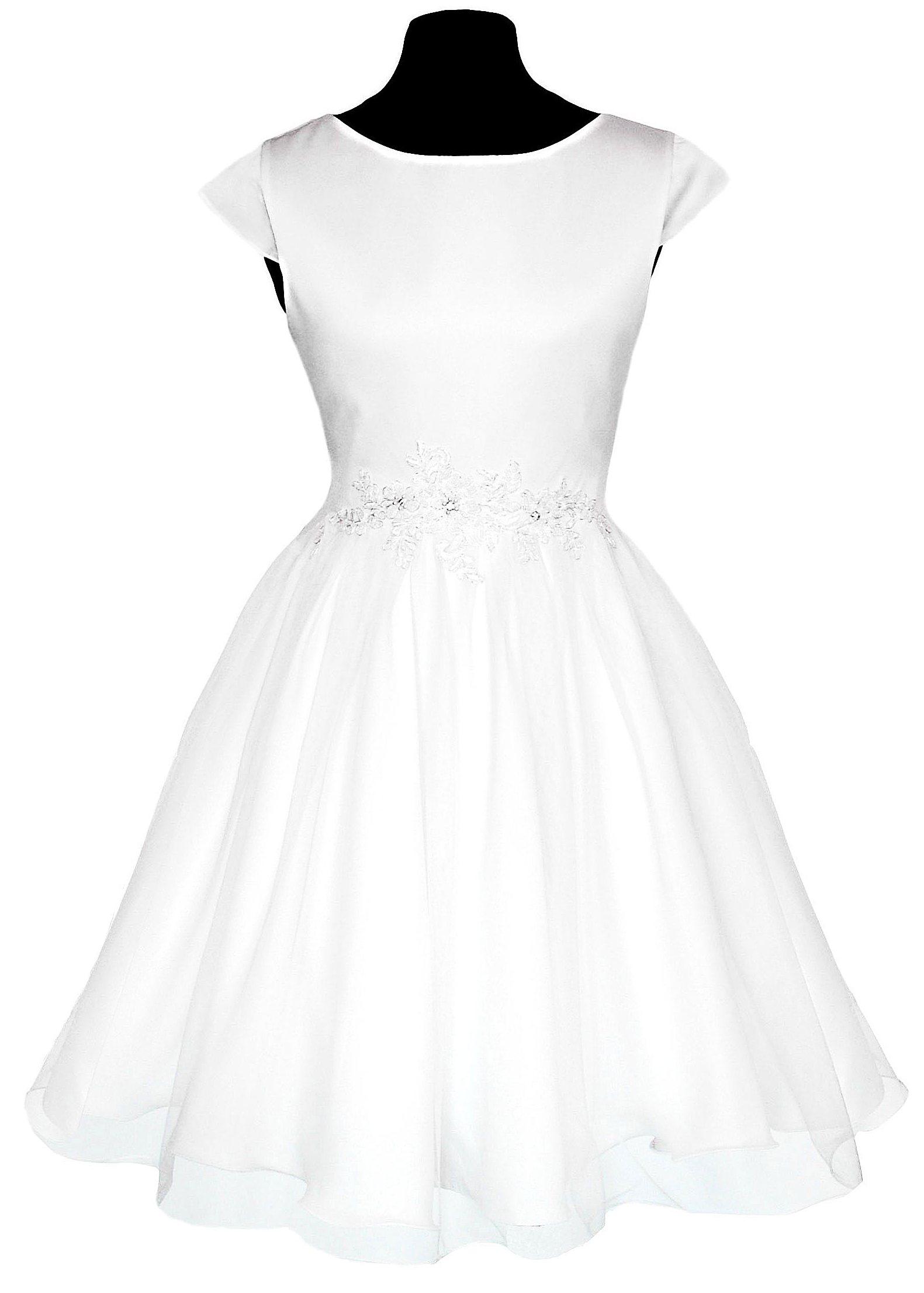 śnieżnobiała suknia wizytowa dziewczęca