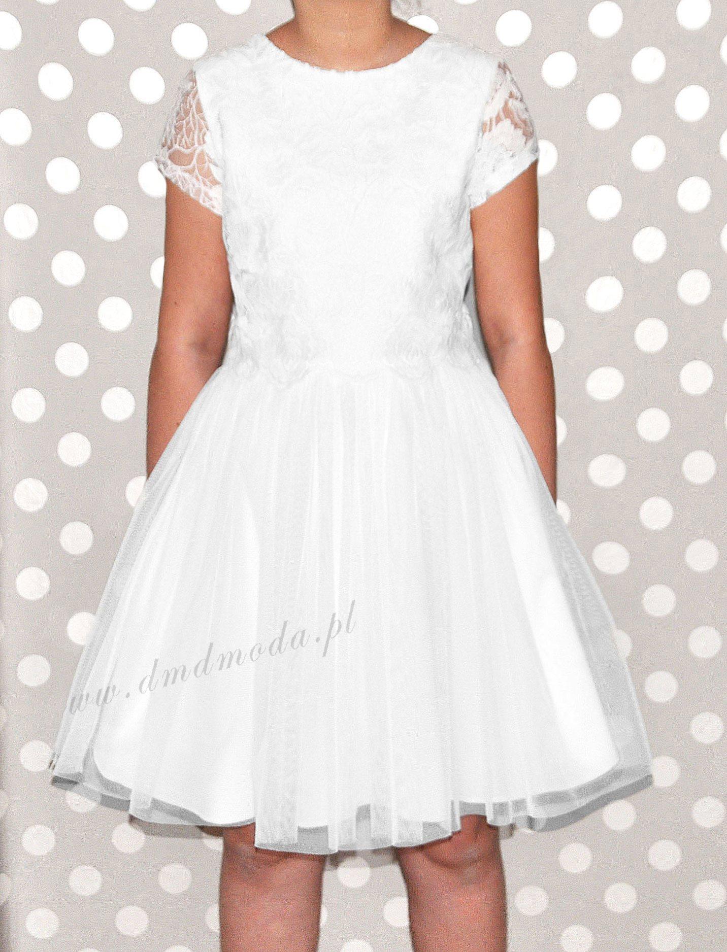 sukienka dla dziewczynki z koronki biała